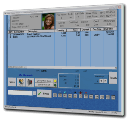 Video Rental Software POS Screen